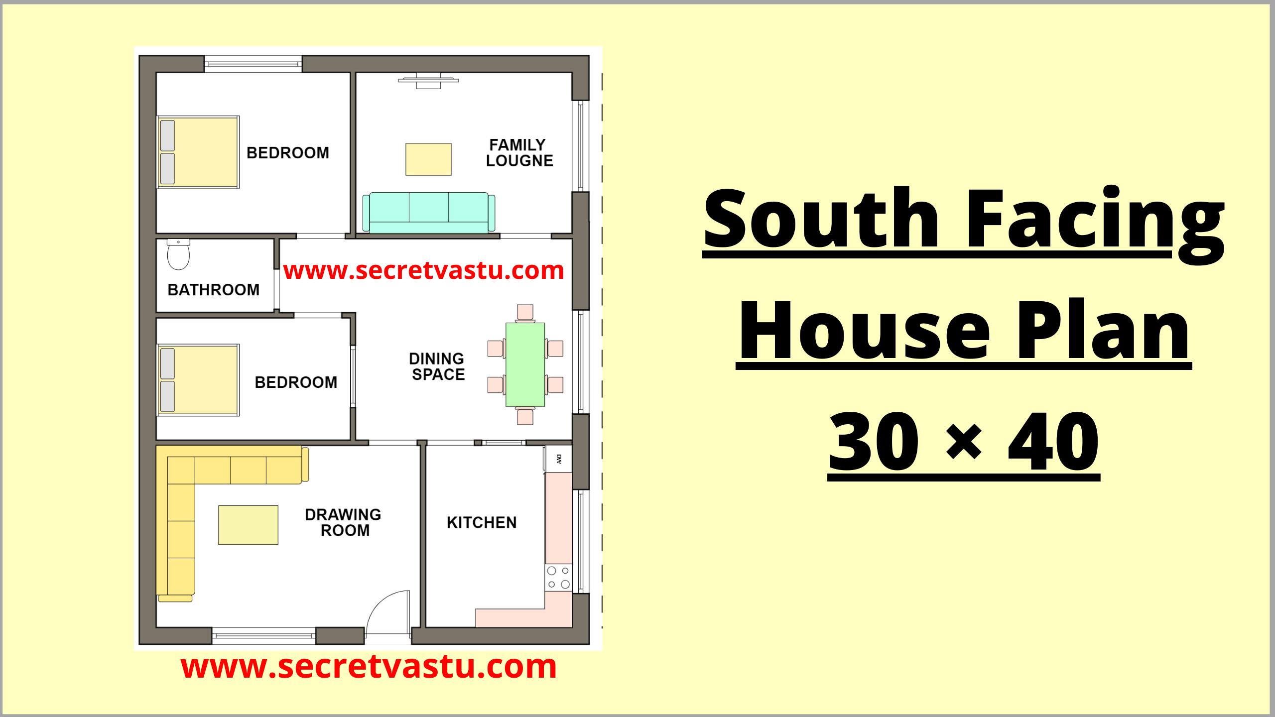 30×40 south facing house plan with vastu